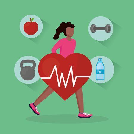 Avatar woman and healthy lifestyle design, Fitness bodybuilding bodycare activity exercise and diet theme Vector illustration Illusztráció