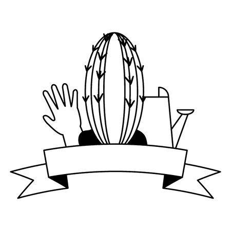 cactus watering can glove tools decoration gardening flat design vector illustration