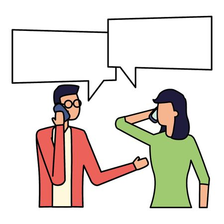 man and woman using smartphone talk bubble vector illustration