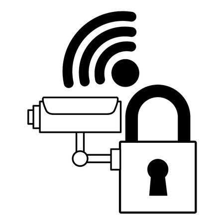 surveillance camera security internet on white background vector illustration