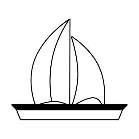 Voyage en bateau à voile sur fond blanc vector illustration