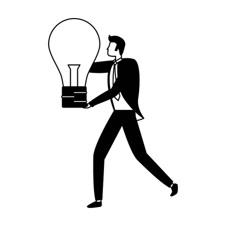 businessman with bulb creativity business success vector illustration