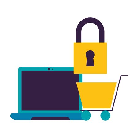 computer shopping cart location wifi free connection vector illustration