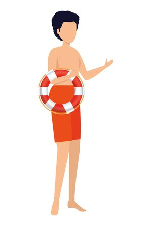 young man with swimsuit and float character vector illustration design Ilustrace