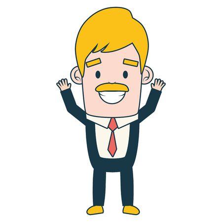 smiling businessman character on white background vector illustration Ilustração