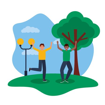 happy young men jumping smiling park vector illustration