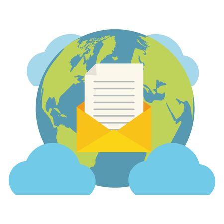 world envelope cloud computing send email vector illustration