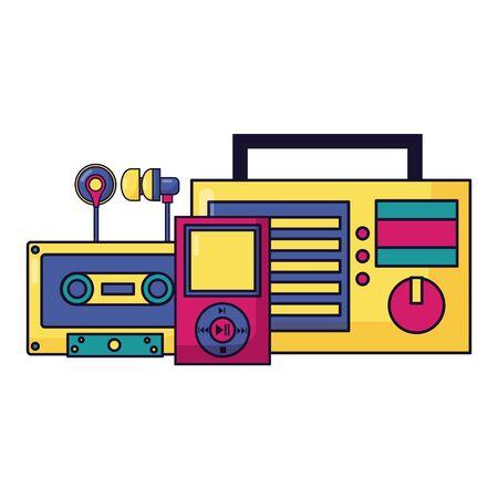 radio stereo cassette mp3 earphones festival music vector illustration
