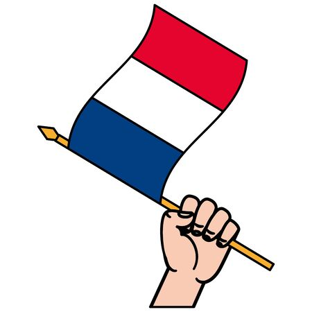 hand with french flag happy bastille day flat design vector illustration Ilustrace