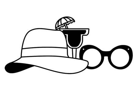 beach vacations sunglasses hat cocktail  vector illustration  イラスト・ベクター素材