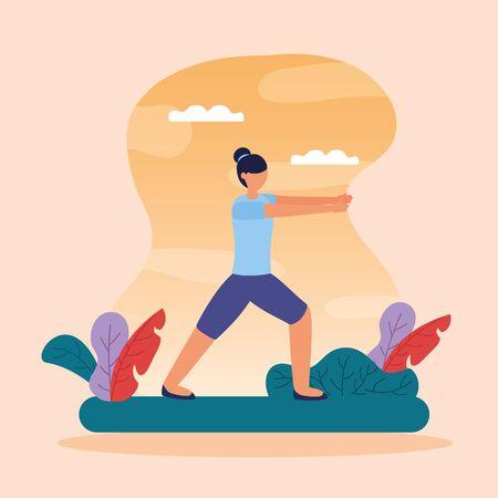 woman flexing hands yoga outdoor vector illustration  イラスト・ベクター素材