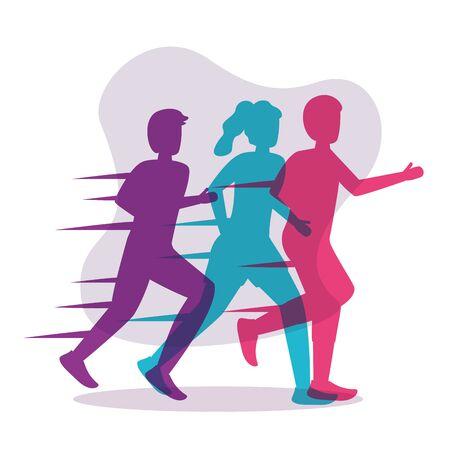 colorful silhouettes people running activity vector illustration Ilustracja