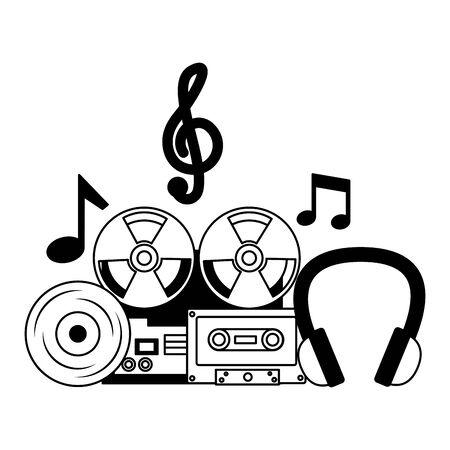 reel tape recorder cassette vinyl headphones equipment festival music vector illustration