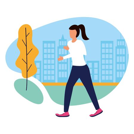 woman running activity in the outdoors vector illustration Ilustracja