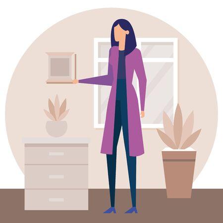 businesswoman worker in the house corridor vector illustration design Illusztráció