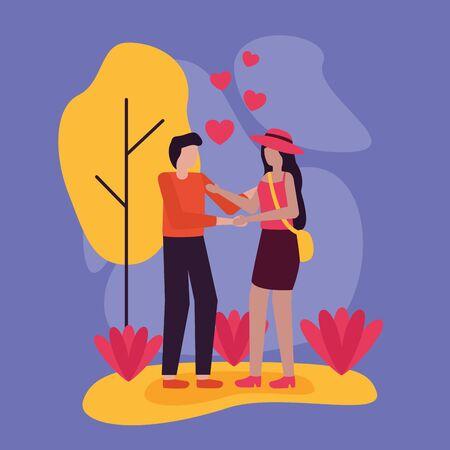 couple romantic love hearts activities outdoors vector illustration