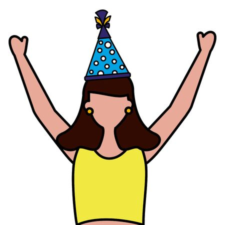woman with party hat birthday celebration vector illustration