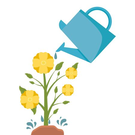 flower in pot watering can decoration gardening flat design vector illustration Ilustracja