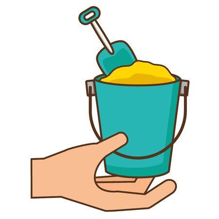 hand holding sand bucket shovel vector illustration