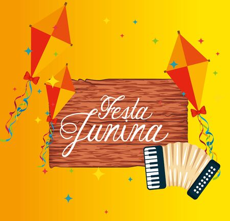 wood emblem with kites and accordion to festival vector illustration