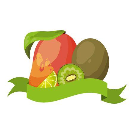 mango and kiwi tropical fruits banner sticker vector illustration Illusztráció