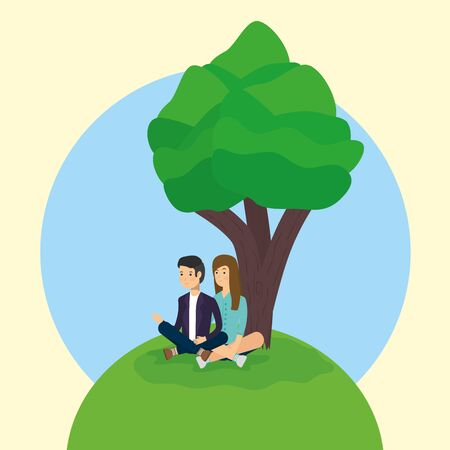 outdoor couple together in park activity vector illustration Stock Illustratie