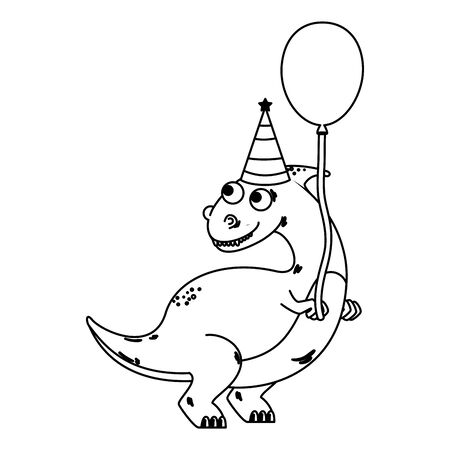 cute dinosaur with balloon helium vector illustration design Imagens - 129951028