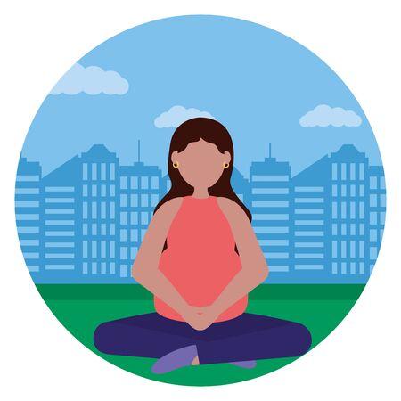 woman pregnancy belly and maternity city park vector illustration Standard-Bild - 129951033
