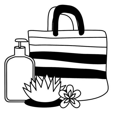 handbag lotion bottle product flower  vector illustration