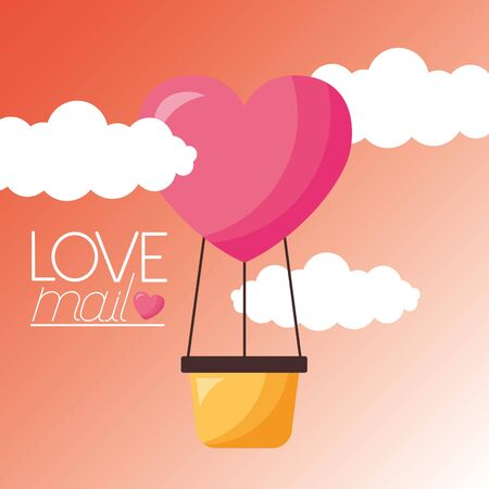Heart hot air balloon design, Love valentines day romance relationship passion and emotional theme Vector illustration Stockfoto - 129918165