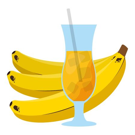 banana juice fresh tropical fruits vector illustration