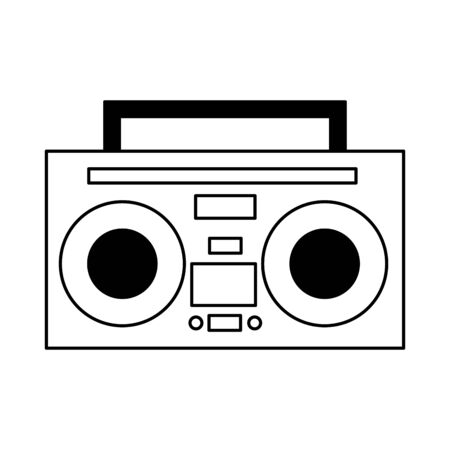 boombox stereo music on white background vector illustration Illustration