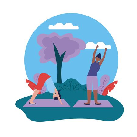 yoga outdoor sunny day women flexing body vector illustration
