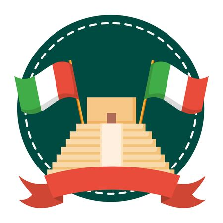 mexican pyramid with flags frame vector illustration design