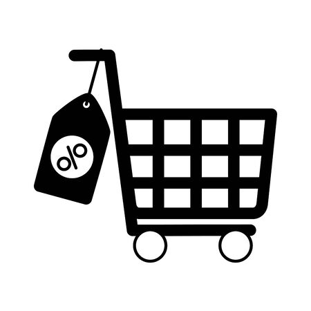 online shopping ecommerce cart tag price sale vector illustration