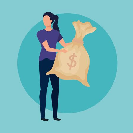 young woman with money bag character vector illustration design Ilustracja