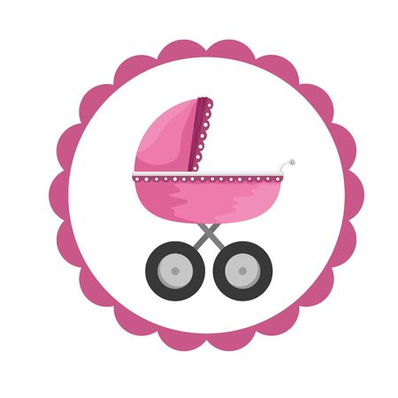 baby shower card with baby cart vector illustration design  イラスト・ベクター素材