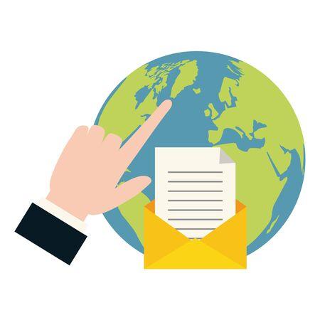 mano mondiale facendo clic su invia e-mail illustrazione vettoriale Vettoriali