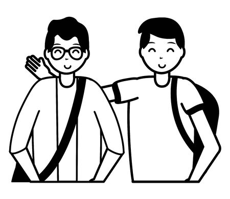 happy young men character on white background vector illustration