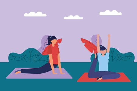 women flexing body yoga outdoor concentration nature vector illustration