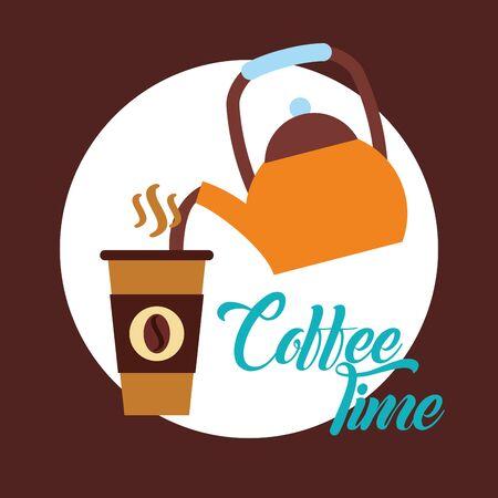 Coffee kettle and mug design, Drink breakfast beverage bakery restaurant and shop theme Vector illustration