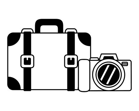 beach vacations suitcase camera photo  vector illustration