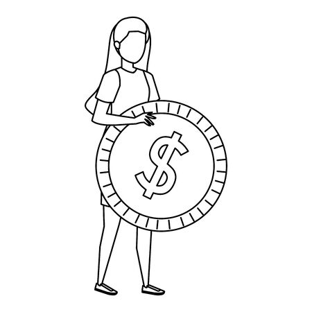 young woman lifting coin money dollar vector illustration design Ilustrace