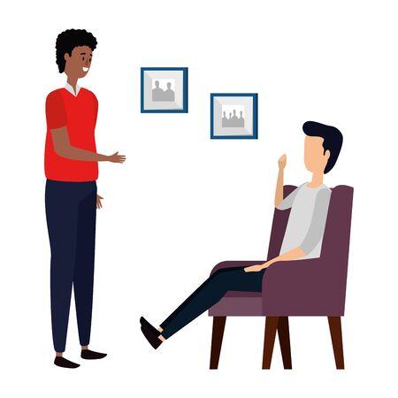 men in living room place scene vector illustration design