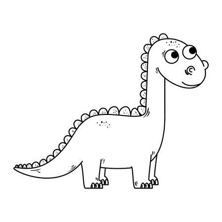 Diseño lindo del ejemplo del vector del icono del carácter cómico del diplodocus