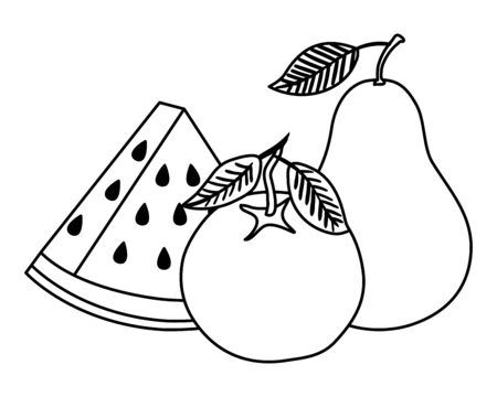 group of fresh fruits nature vector illustration design