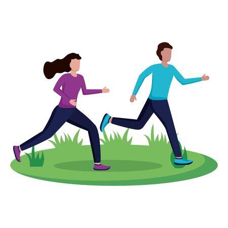 couple running activity sport outdoor vector illustration