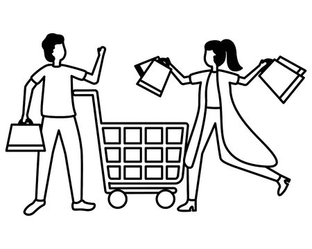 man and woman cart shopping bag commerce vector illustration Foto de archivo - 129928462