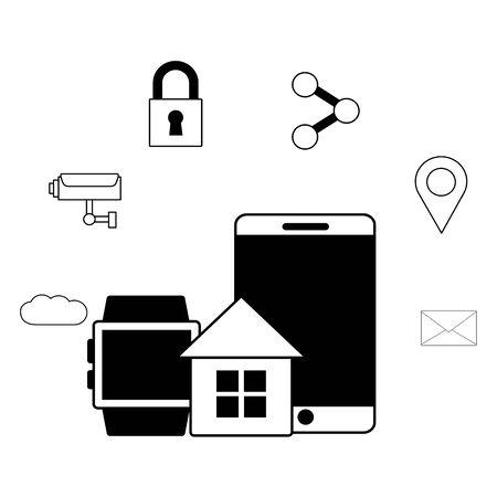 teléfono inteligente reloj inteligente casa wifi conexión gratuita ilustración vectorial