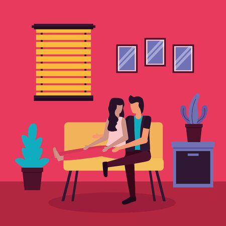 couple sitting in the sofa home romantic activities flat design vector illustration